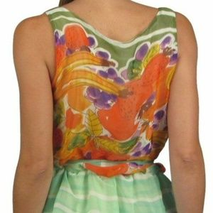 Tops - NWT Colorful Floral Chiffon Style Tunic Size M